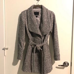 White House Black Market Belted Grey Coat XXS